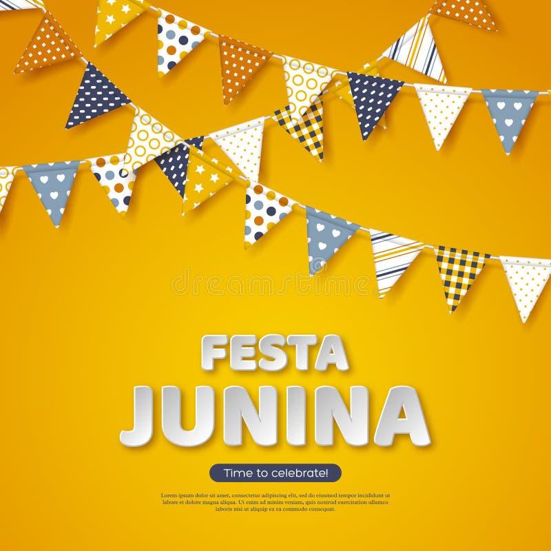 Festa Junina feriedesign Bokstäver för papperssnittstil med bunting sjunker på gul bakgrund Mall för brasilian eller stock illustrationer