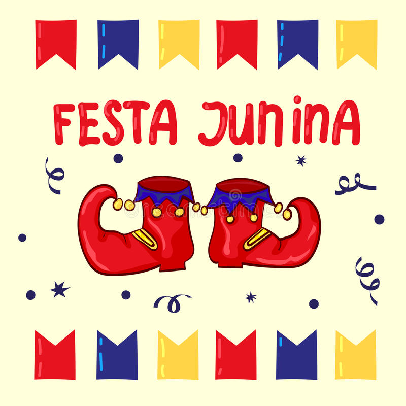 Festa Junina - festival de junho, feriado brasileiro nacional ilustração do vetor