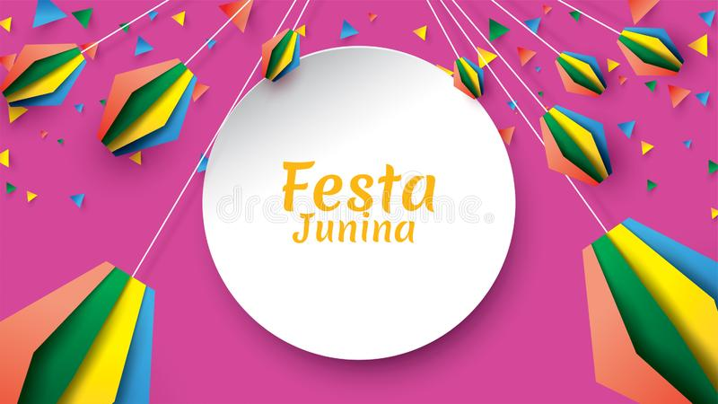 Festa Junina festival design on paper art and flat style with Party Flags and Paper Lantern, Can use for Greeting Card, Invitation royalty free illustration