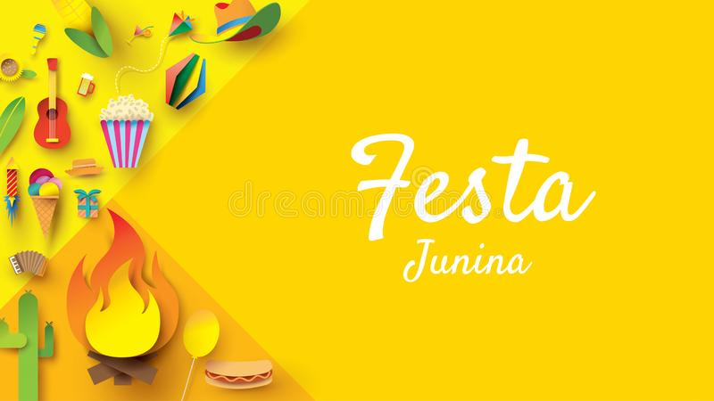 Festa Junina festival design on paper art and flat style with Party Flags and Paper Lantern, Can use for Greeting Card, Invitation vector illustration