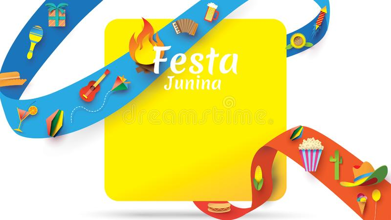 Festa Junina festival design on paper art and flat style with Party Flags and Paper Lantern, Can use for Greeting Card, Invitation stock illustration
