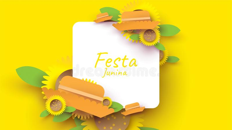 Festa Junina festival design on paper art and flat style with simple Mexican Hat and sunflower for banner or poster concept. -. Vector royalty free illustration