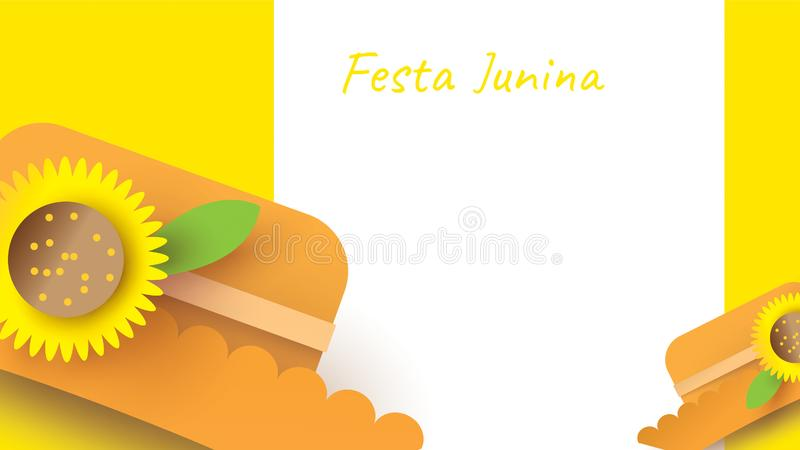 Festa Junina festival design on paper art and flat style with simple Mexican Hat and sunflower for banner or poster concept. -. Vector stock illustration