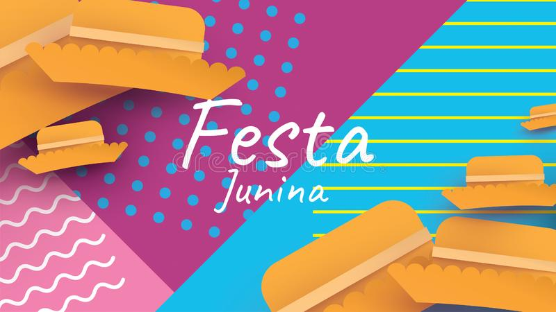 Festa Junina festival design on paper art and flat style with simple Mexican Hat. - Vector. Festa Junina festival design on paper art and flat style with simple vector illustration