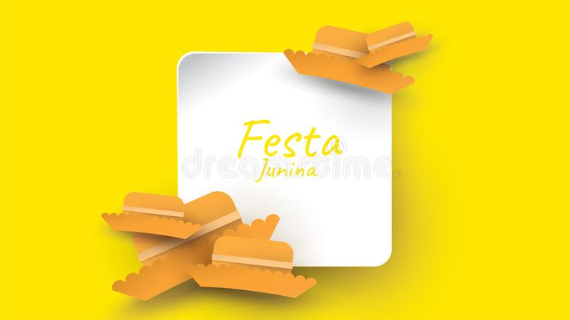 Festa Junina festival design on paper art and flat style with simple Mexican Hat. - Vector. Festa Junina festival design on paper art and flat style with simple royalty free illustration