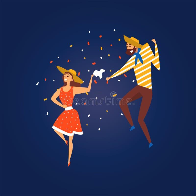 Festa Junina, festival traditionnel du Brésil juin, danse heureuse de couples au cowboy de port Hats Vector de partie de folklore illustration de vecteur