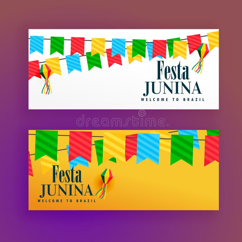 Festa junina festiwalu sztandary ustawiający dwa royalty ilustracja