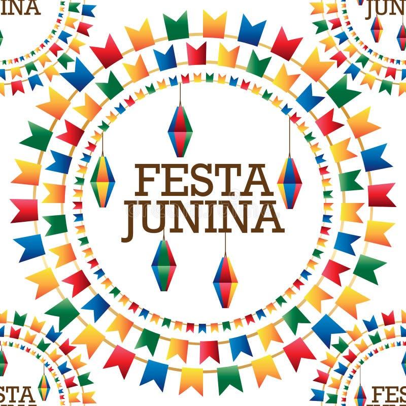 Festa Junina flag lantern circle word seamless pattern royalty free illustration