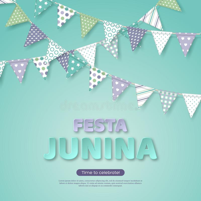 Festa Junina holiday design. Paper cut style letters with bunting flag on light turquoise background. Template for vector illustration