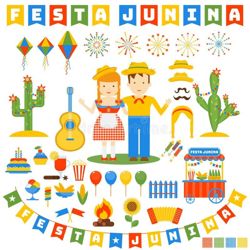 Festa junina ikony ustawiać ilustracji