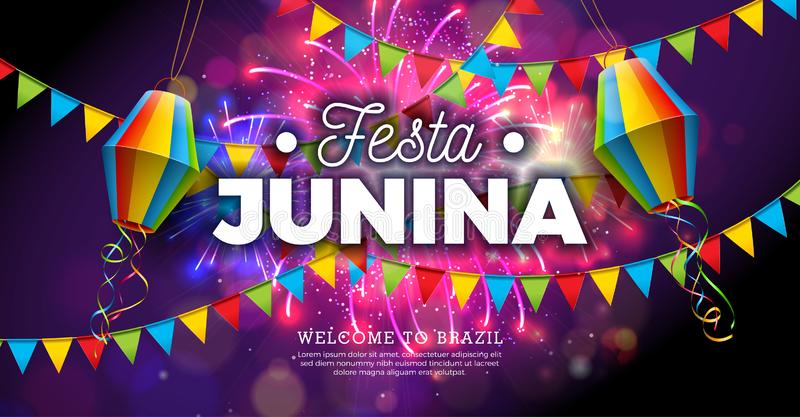 Festa Junina Illustration with Flags and Paper Lantern on Firework Background. Vector Brazil June Festival Design for. Invitation or Holiday Celebration Poster royalty free illustration