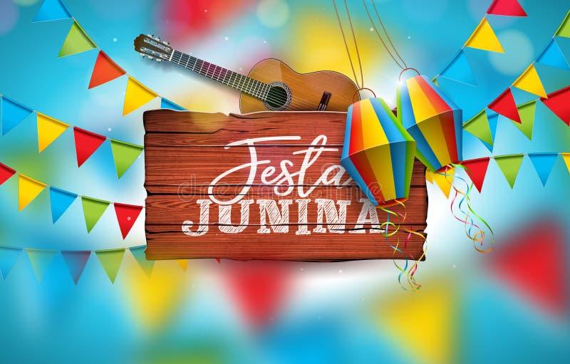 Festa Junina illustration med den akustiska gitarren, partiflaggor och den pappers- lyktan på blå bakgrund Typografi på tappning royaltyfri illustrationer
