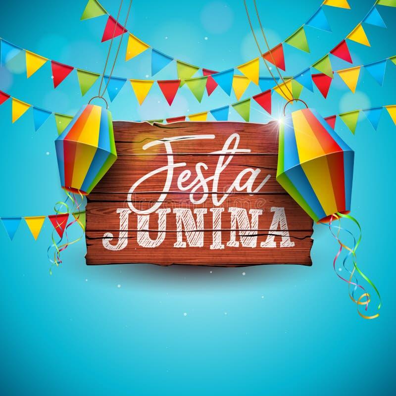 Festa Junina illustration med partiflaggor och pappers- lykta på blå bakgrund Design för vektorBrasilien Juni festival för vektor illustrationer
