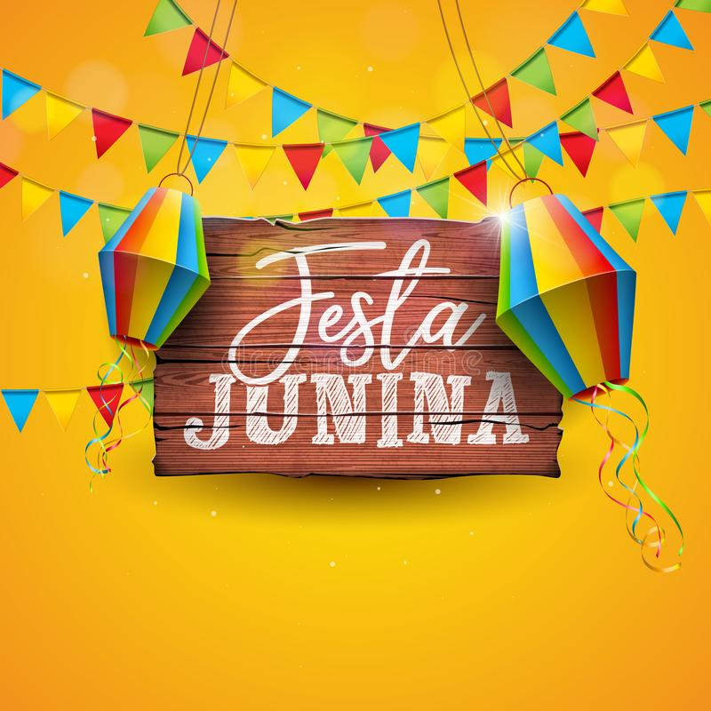 Festa Junina illustration med partiflaggor och pappers- lykta på gul bakgrund Design för vektorBrasilien Juni festival vektor illustrationer
