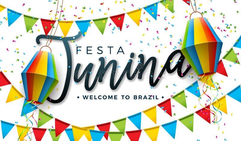 Festa Junina illustration med partiflaggor och pappers- lykta p? vit bakgrund Design f?r vektorBrasilien Juni festival f?r vektor illustrationer