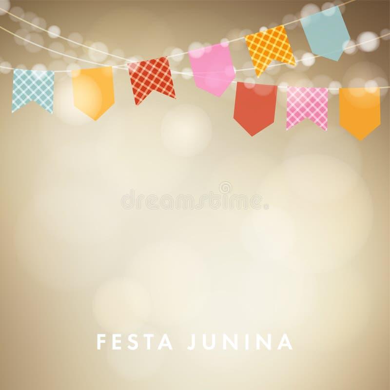 Festa junina, kort för hälsning för brasilianjuni parti, inbjudan Latin - amerikansk ferie Girland av bunting flaggor, lyktor stock illustrationer