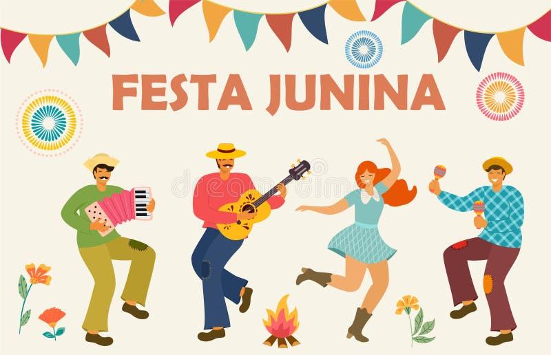 Festa Junina Latijns-Amerikaanse vakantie Vector illustratie Ideemalplaatje voor banner, affiche, kaart, prentbriefkaar en voor h vector illustratie