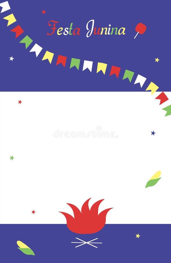 Festa Junina Malplaatje voor uitnodiging Vlakke multicolored vlaggen en sterren, vuur, graan, een inschrijving, een appel in kara royalty-vrije illustratie