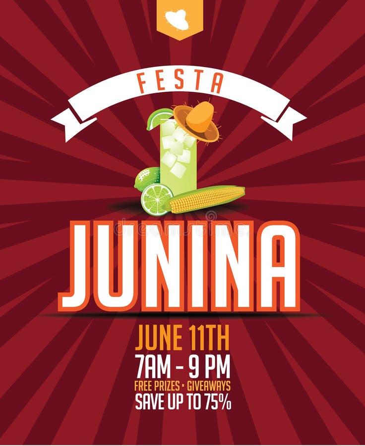 Festa Junina marketingu projekt (Czerwa przyjęcie) royalty ilustracja
