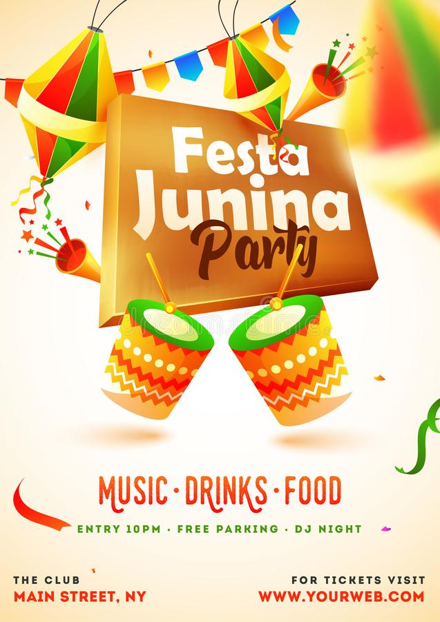 Festa Junina Party invitation card design with illustration of drum, party popper and lanterns. stock illustration