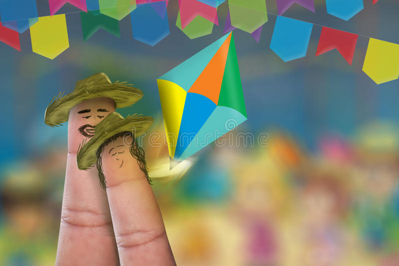 Festa Junina Party with this lovely finger couple royalty free stock photo