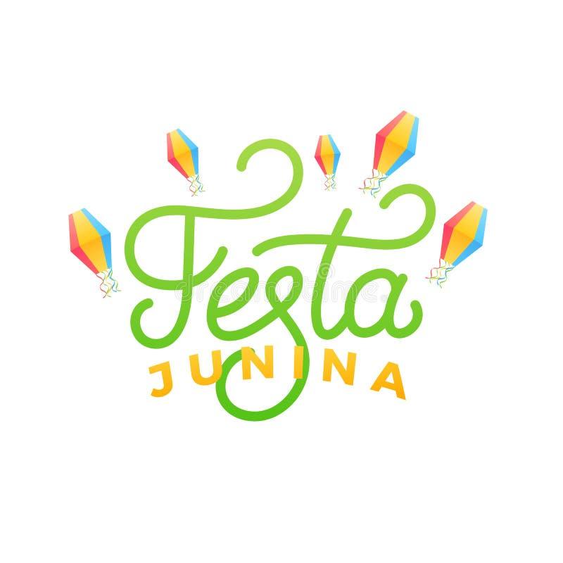 Festa Junina Progettazione di carta di festa per il festa de Sao Joao di giugno del brasiliano Lanterne del cielo e dell'iscrizio illustrazione vettoriale