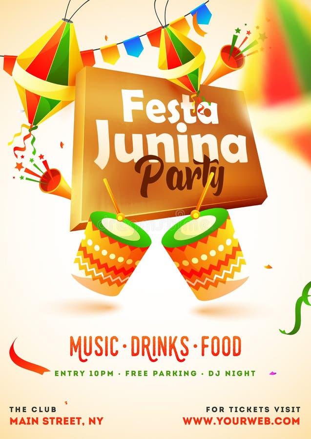 Festa Junina przyjęcia zaproszenia karciany projekt z ilustracją bęben, partyjna napa i lampiony, ilustracji