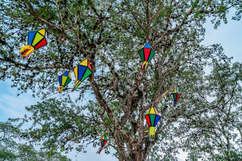 Festa Junina, sao Joao, partie avec les drapeaux et les ballons colorés il se produit en juin image libre de droits