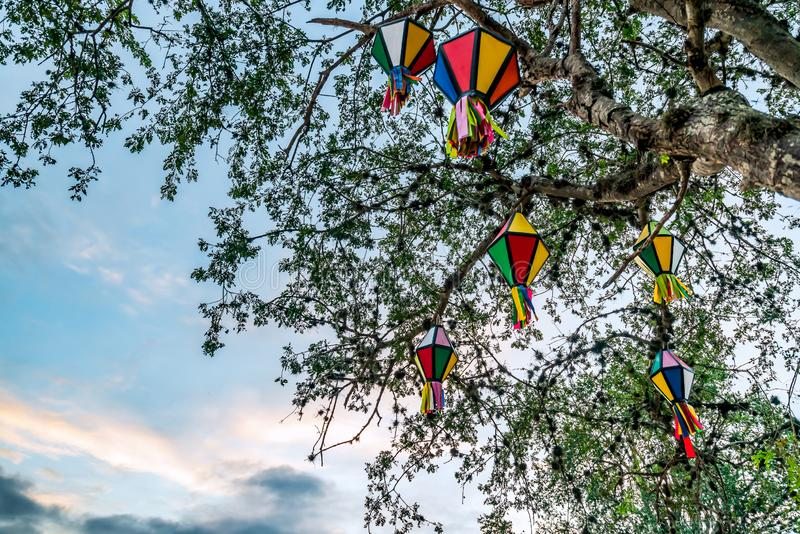 Festa Junina, Sao Joao, Party with colorful Flags and Balloons it happens in June stock image