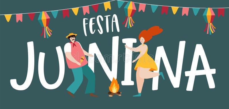 Festa junina, Sao Joao wakacje Brazylijczyka Czerwca przyjęcia kartka z pozdrowieniami, sieć sztandar Mężczyzny i kobiety taniec  royalty ilustracja