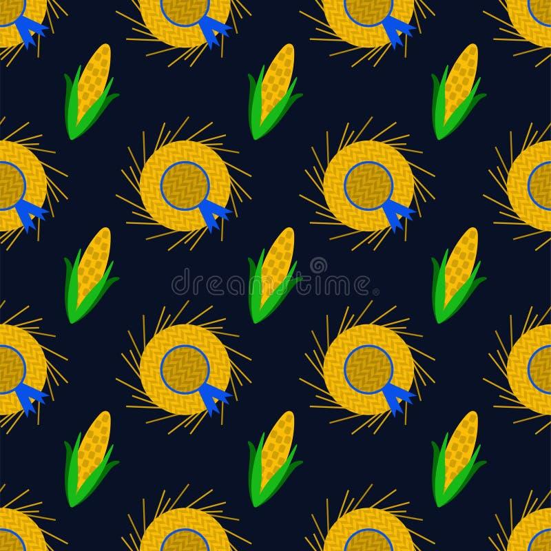 Festa Junina Straw Hats und Mais-nahtloses Muster vektor abbildung
