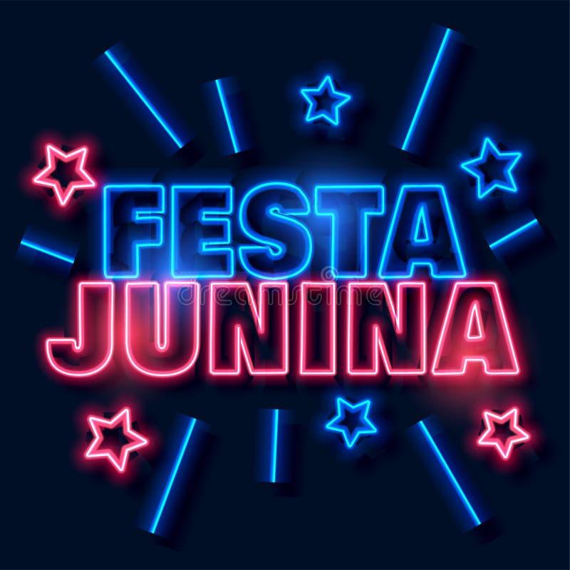 Festa junina teksta neonowy tło ilustracji
