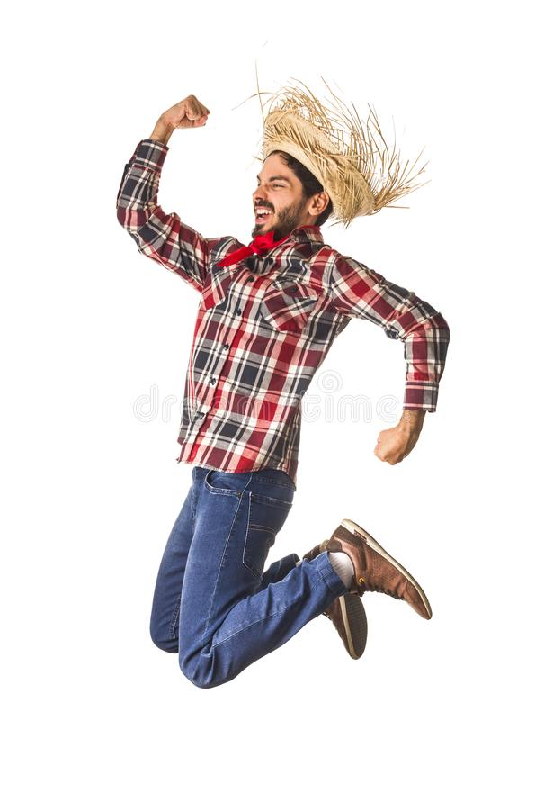 Festa Junina is a brazilian party. Man wearing plaid shirt and s stock images