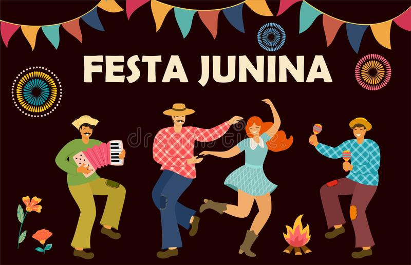 Festa Junina Vacances latino-am?ricaines Illustration de vecteur Calibre d'id?e pour la banni?re, l'affiche, la carte, la carte p illustration libre de droits
