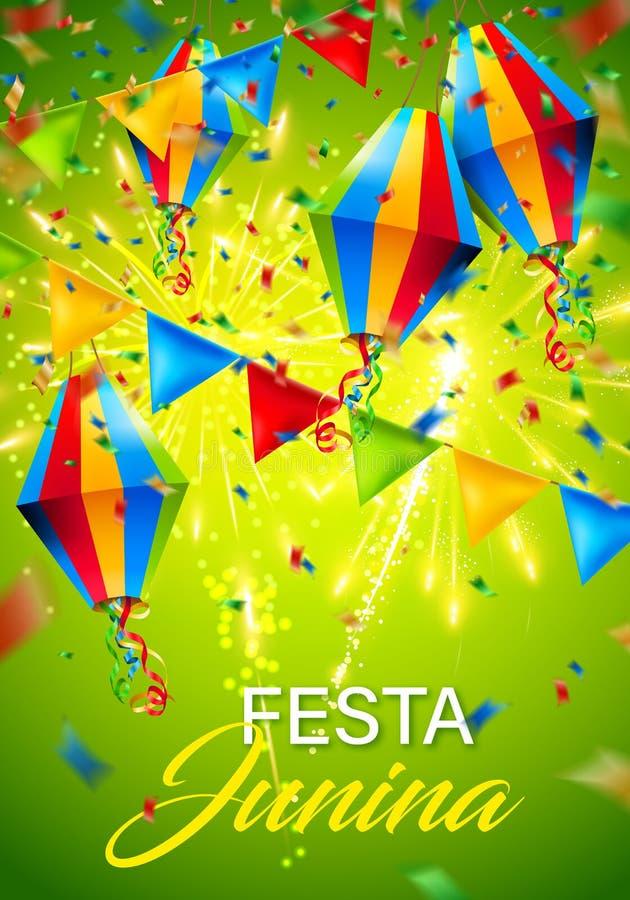 Festa juninabakgrund med fyrverkerit arkivbild