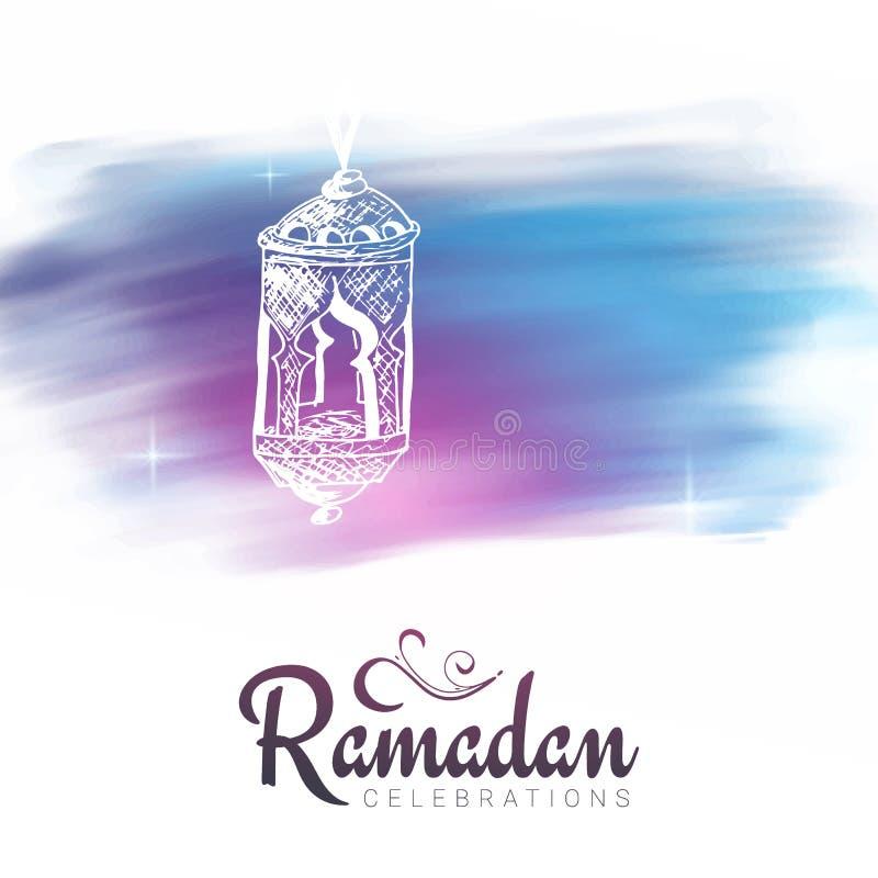 Festa muçulmana do mês santamente de Ramadan Kareem Ilustração do vetor ilustração stock