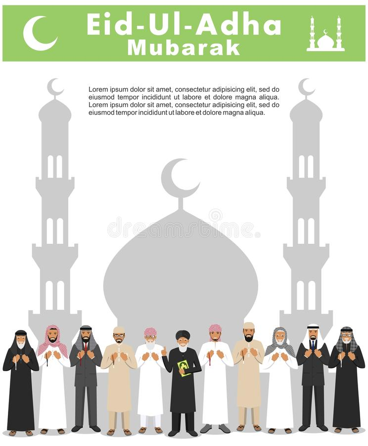 Festa musulmana Eid Al-Adha Festività del sacrificio Gente araba pregante e mullah di condizione differente in tradizionale illustrazione di stock