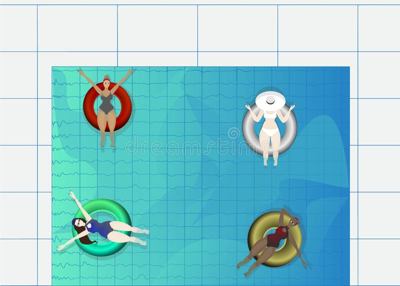 Festa na piscina, anel de borracha que flutua na água com jovens ilustração stock