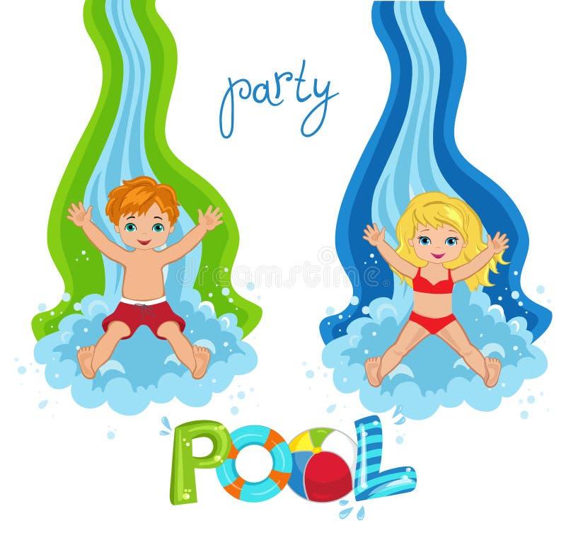 A festa na piscina das crianças no fundo ilustração stock