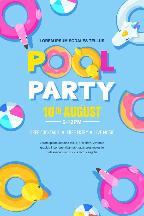 Festa na piscina do verão, cartaz do vetor, disposição da bandeira Unicórnio, flamingo, pato, bola, flutuadores bonitos da filhós ilustração stock