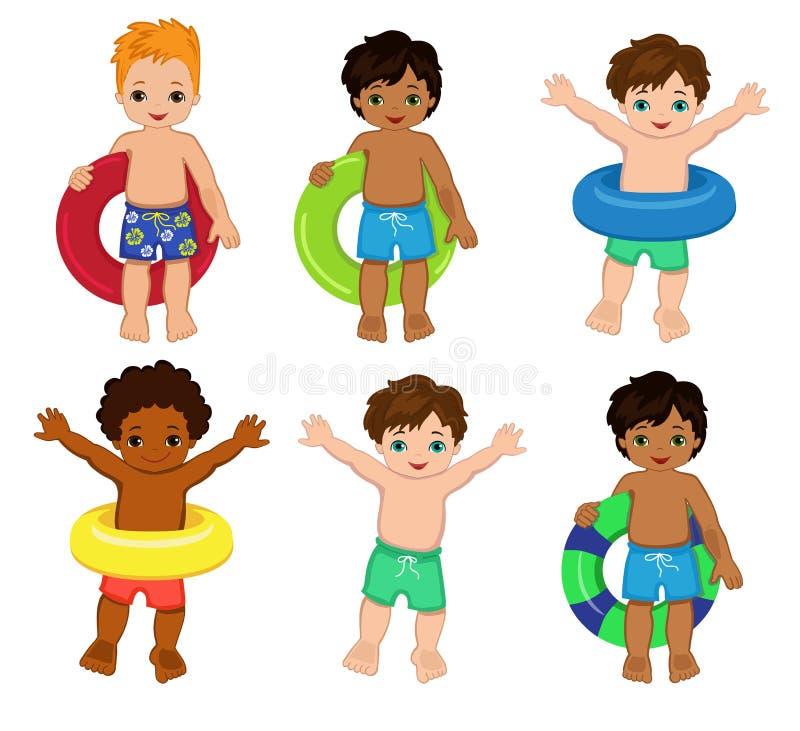 Festa na piscina para meninos Ilustração do vetor ilustração royalty free
