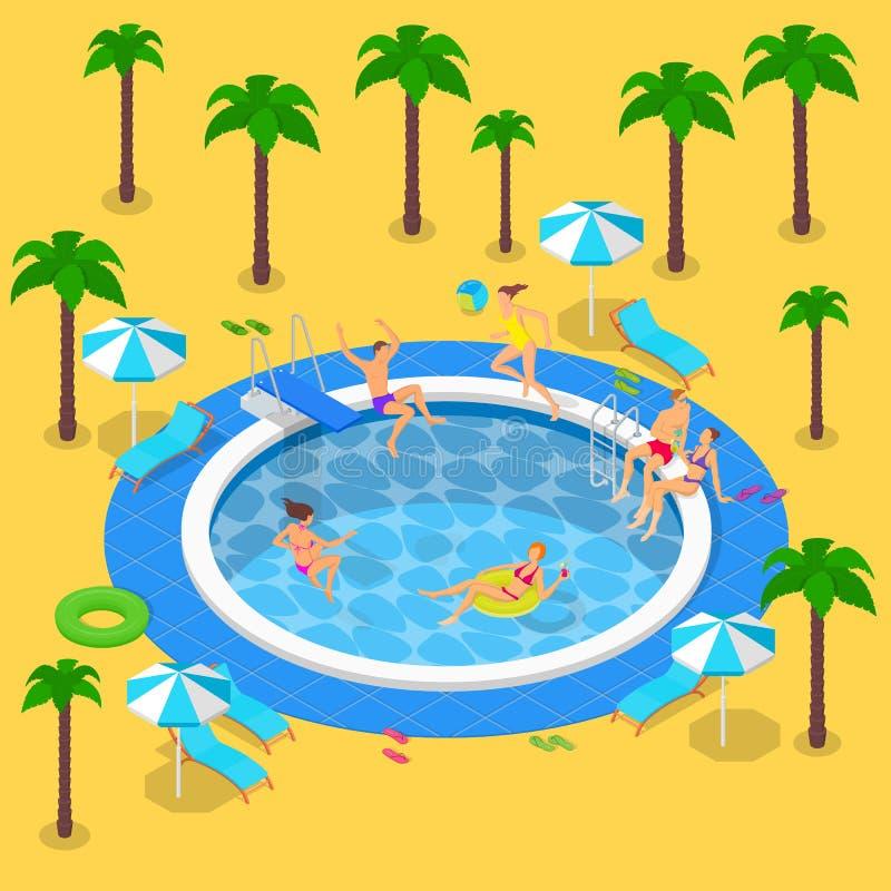 Festa in piscina di estate, illustrazione isometrica di vettore 3d Vacanze estive nella localit? di soggiorno La gente ha un rest illustrazione vettoriale