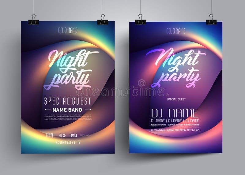 Festa reklamblad- eller affischorienteringsmallen för diskodansklubba på bakgrunden av färgrika vågor i form av ögon stock illustrationer