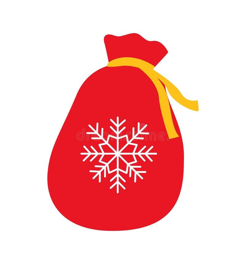 Festa rossa del sacco della borsa per i regali nuovo anno e Natale isolati su bianco royalty illustrazione gratis