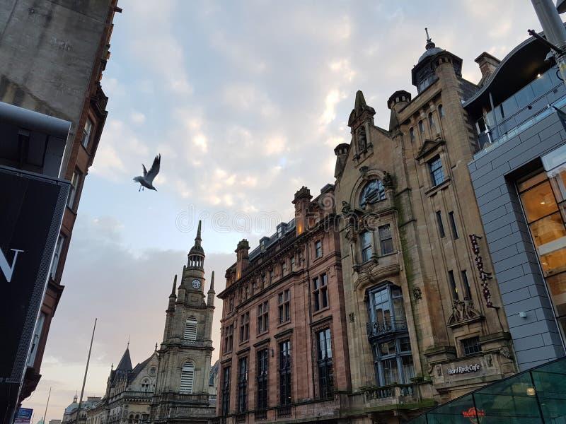 Festa scotlandsky del monumento del cielo di volo della mosca di Glasgow Scozia fotografia stock