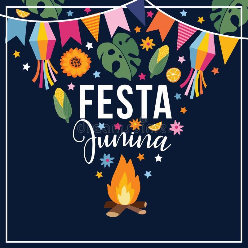 Festajunina, Braziliaanse juni-partij Groetkaart, uitnodiging Latijns-Amerikaanse vakantie Vector illustratieachtergrond vector illustratie