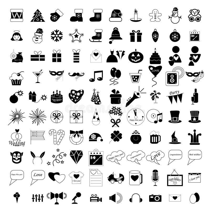 100 feste ed icone del partito illustrazione di stock