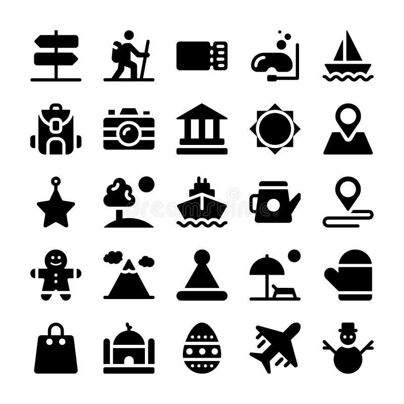 Feste ed insieme solido delle icone di vacanze royalty illustrazione gratis