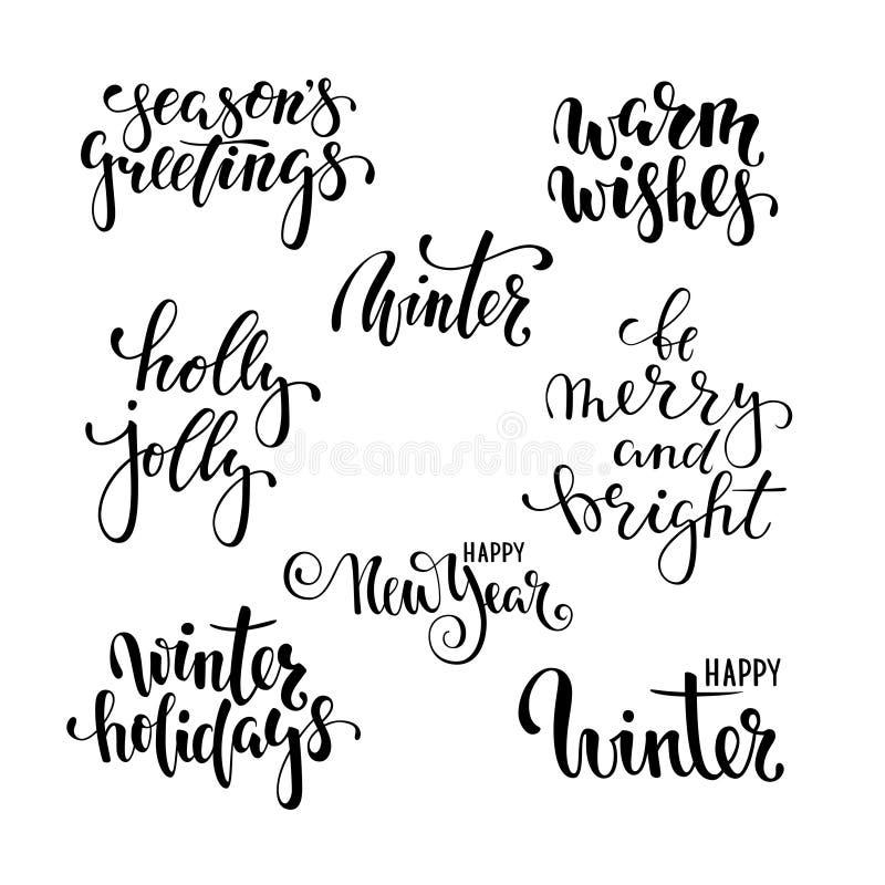 Feste felici Calligrafia creativa disegnata a mano, iscrizione della penna della spazzola progetti le cartoline d'auguri di festa royalty illustrazione gratis