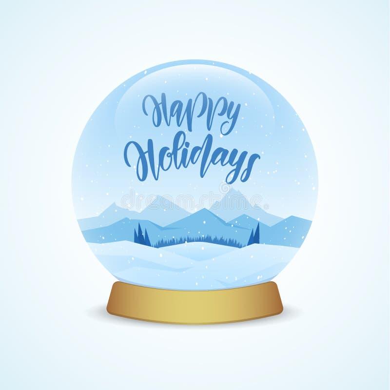 Feste felici Il globo della neve con le montagne dell'inverno abbellisce isolato su fondo blu-chiaro illustrazione di stock